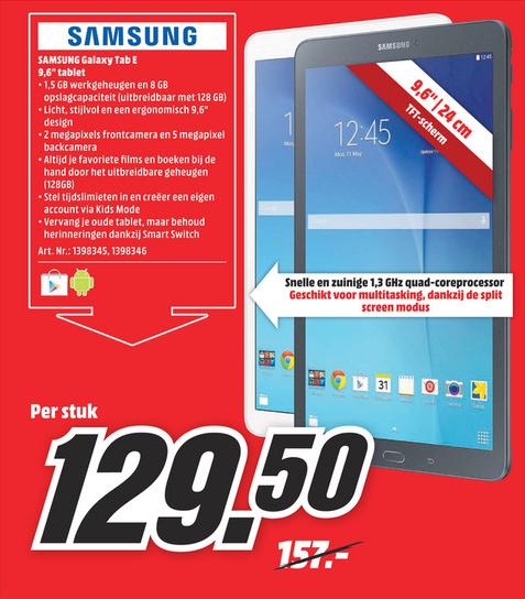 Samsung Tab E voor €129,50 @ Mediamarkt