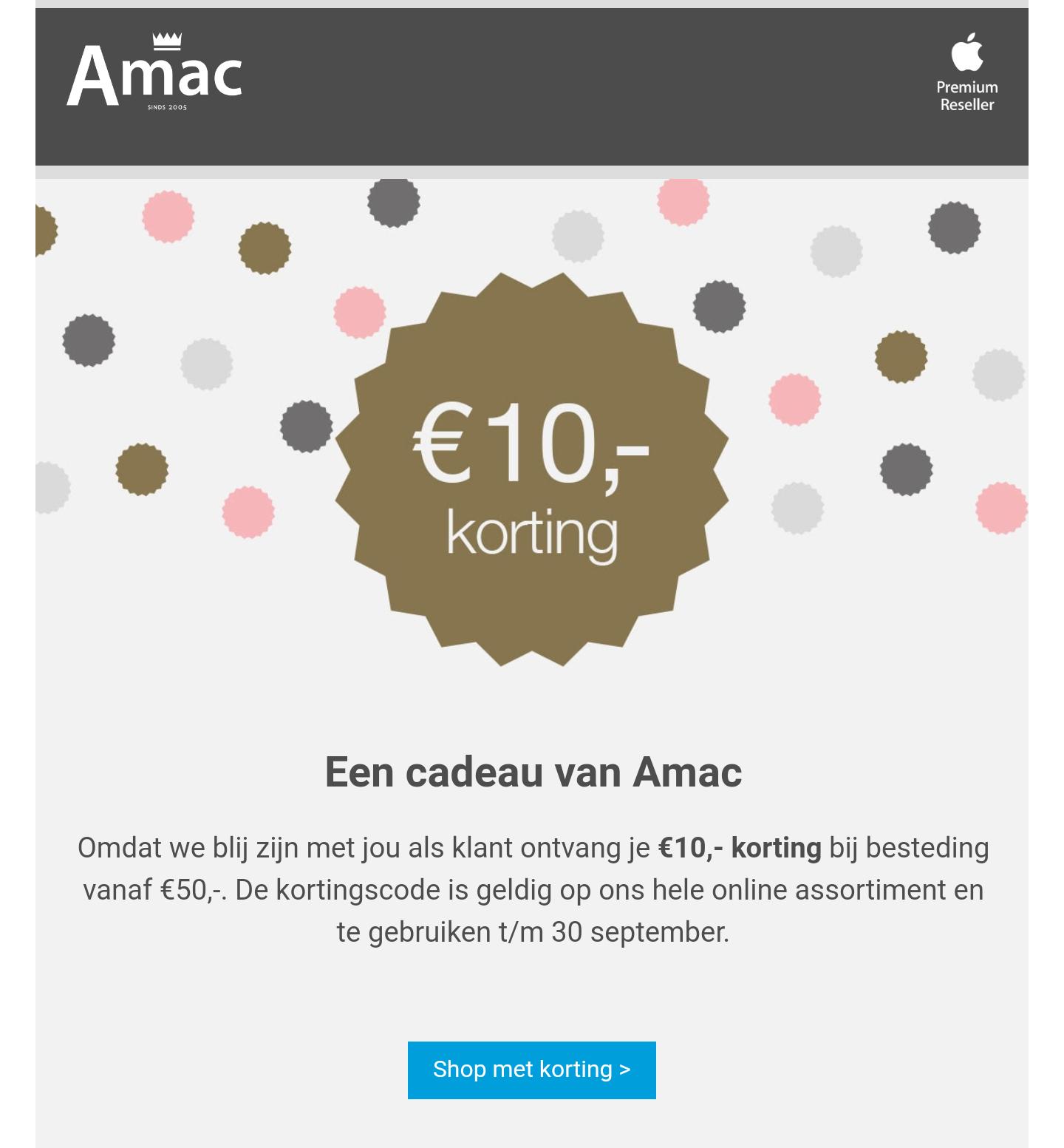 10,- korting bij besteding vanaf 50,- bij Amac