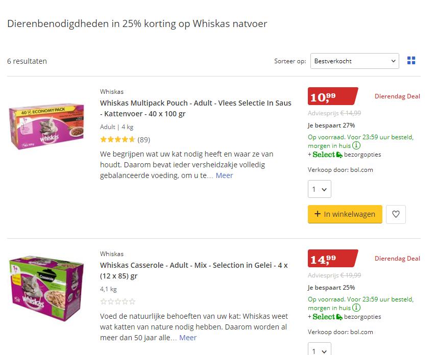 25% korting op Whiskas natvoer bij Bol.com