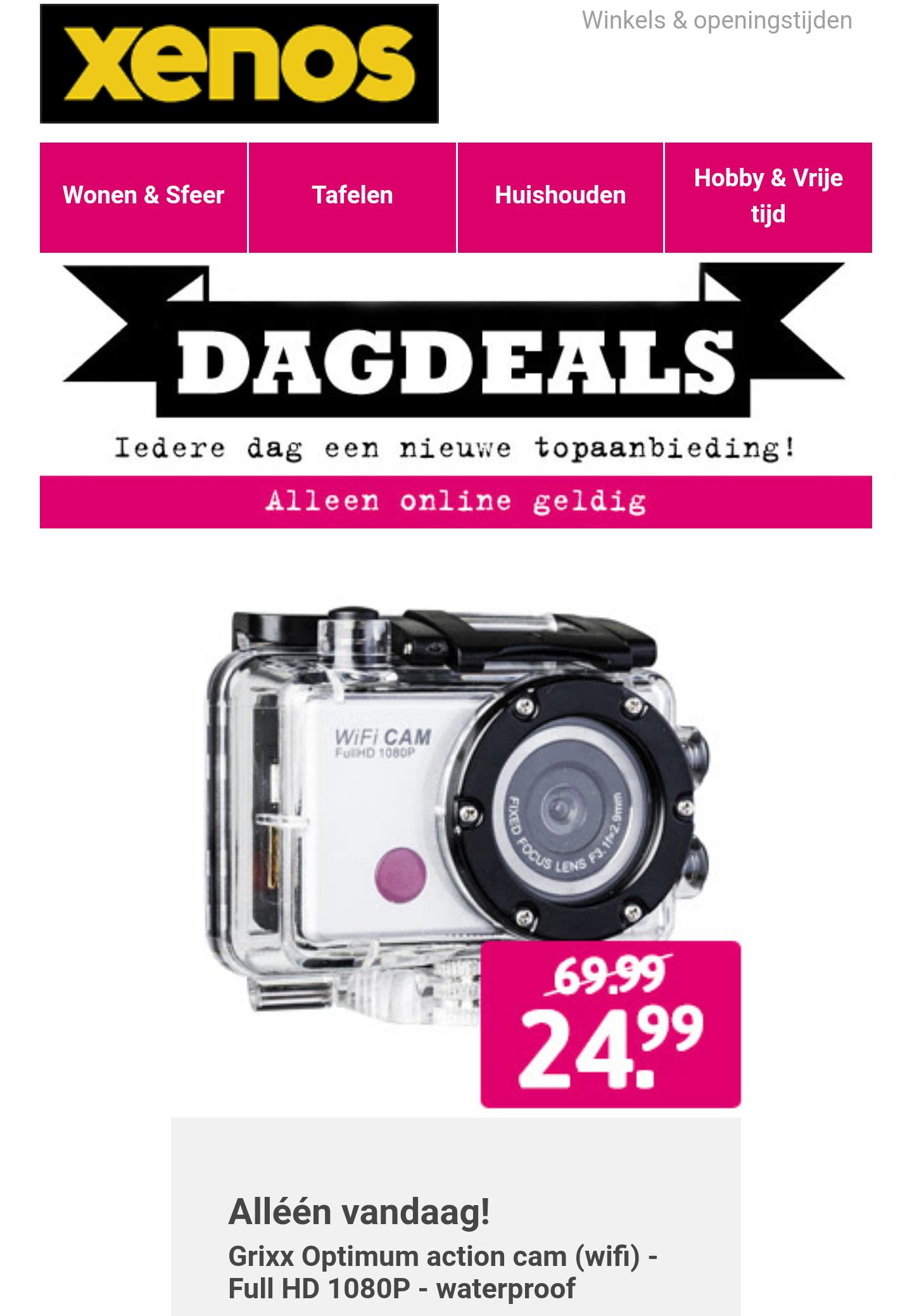 Alleen vandaag Grixx Optimum action cam (wifi) - Full HD 1080P - waterproof voor €19,99 @ Xenos