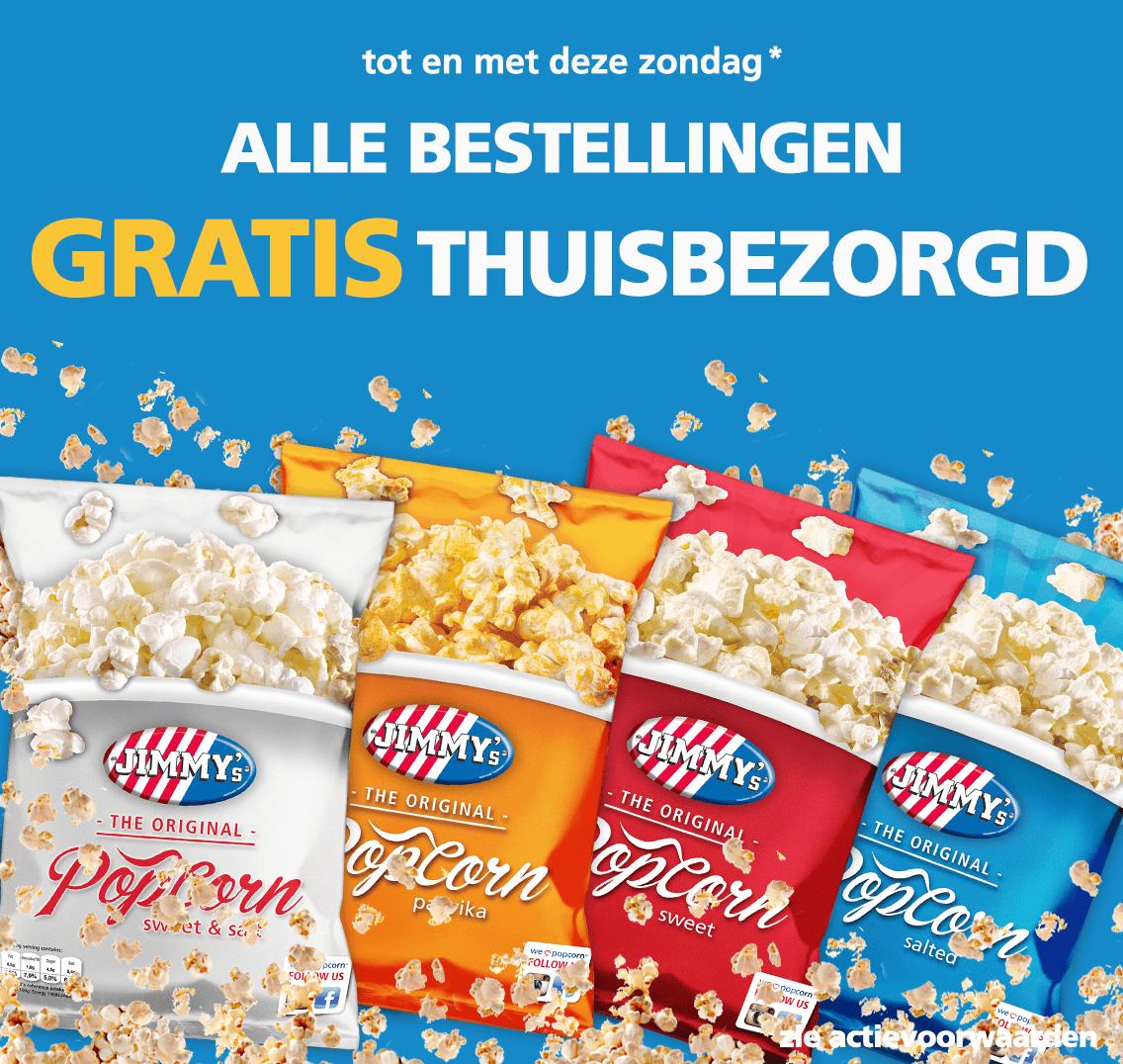JIMMY'S bioscoop popcorn/nachos en ect. - Gratis Thuisbezorgd!