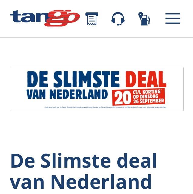 €0,20 korting op de adviesprijs voor diesel en benzine @ Tango
