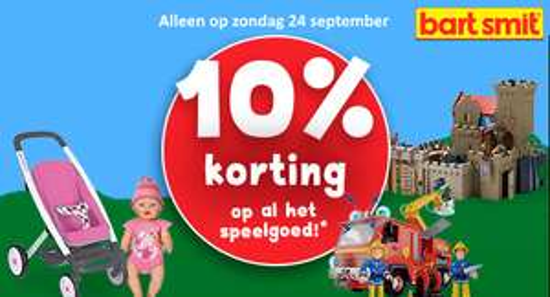 10% korting op alle speelgoed (zondag 24 september) @ Bartsmit