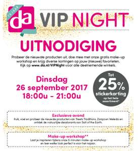VIP Night Dinsdag 26 september 18:00 - 21:00 @ DA
