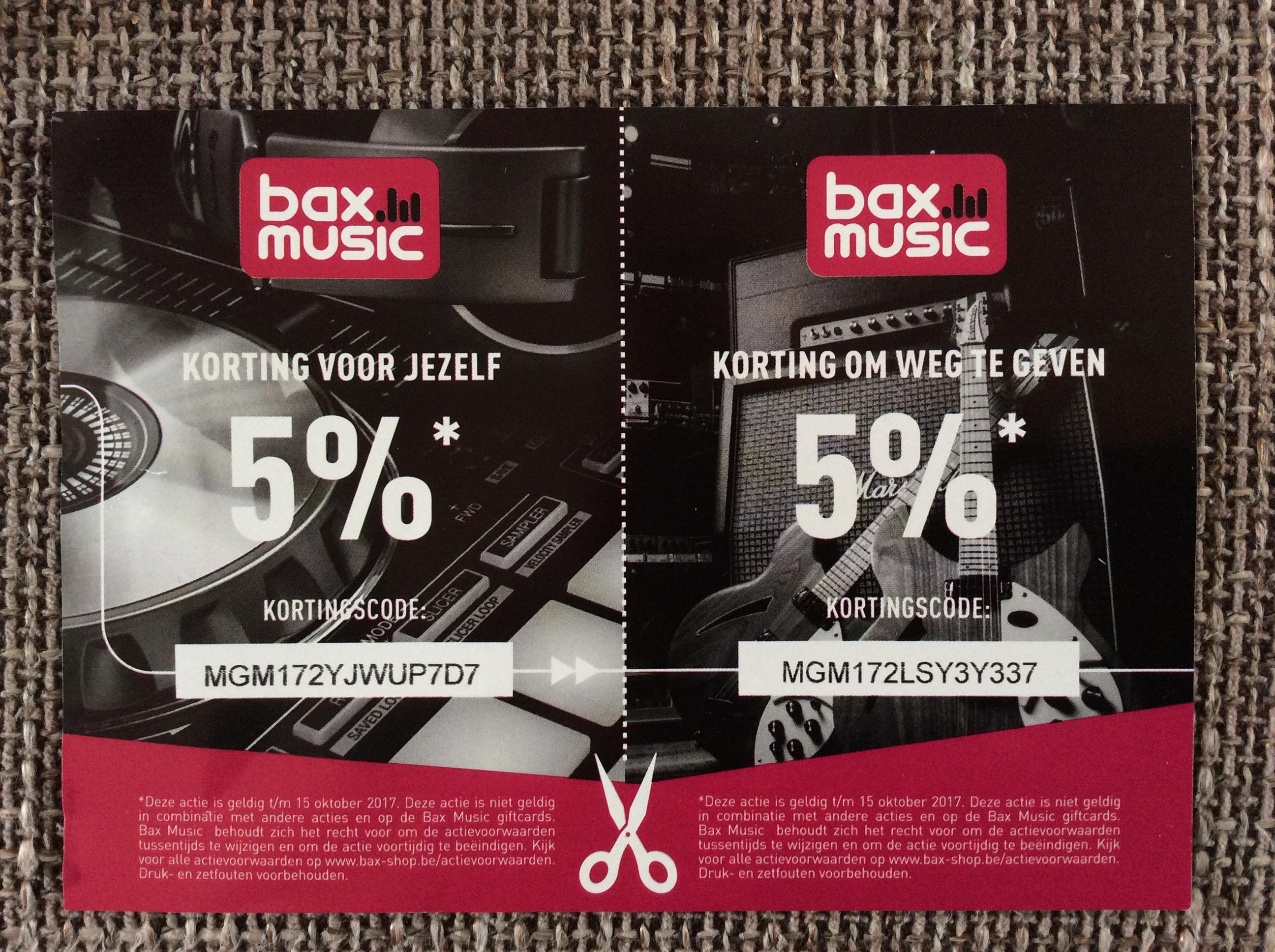 5% korting bij Bax-shop