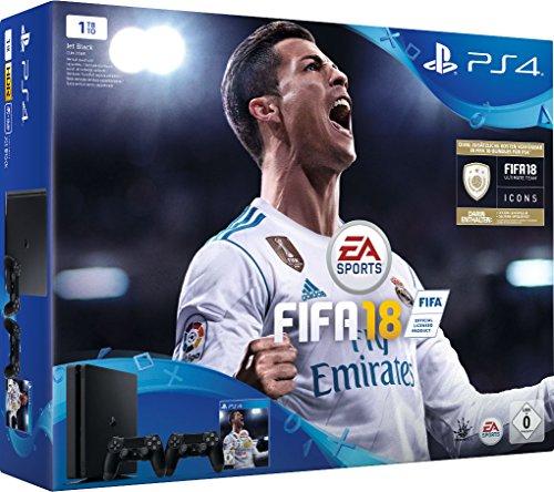 PlayStation 4 (1TB) incl. FIFA 18 + 2 DualShock Controllers voor €304,91 @ amazon.de