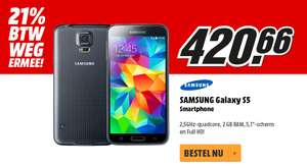 [UPDATE] Samsung Galaxy S5 (zwart, wit blauw of goud) voor €420,66 @ Media Markt