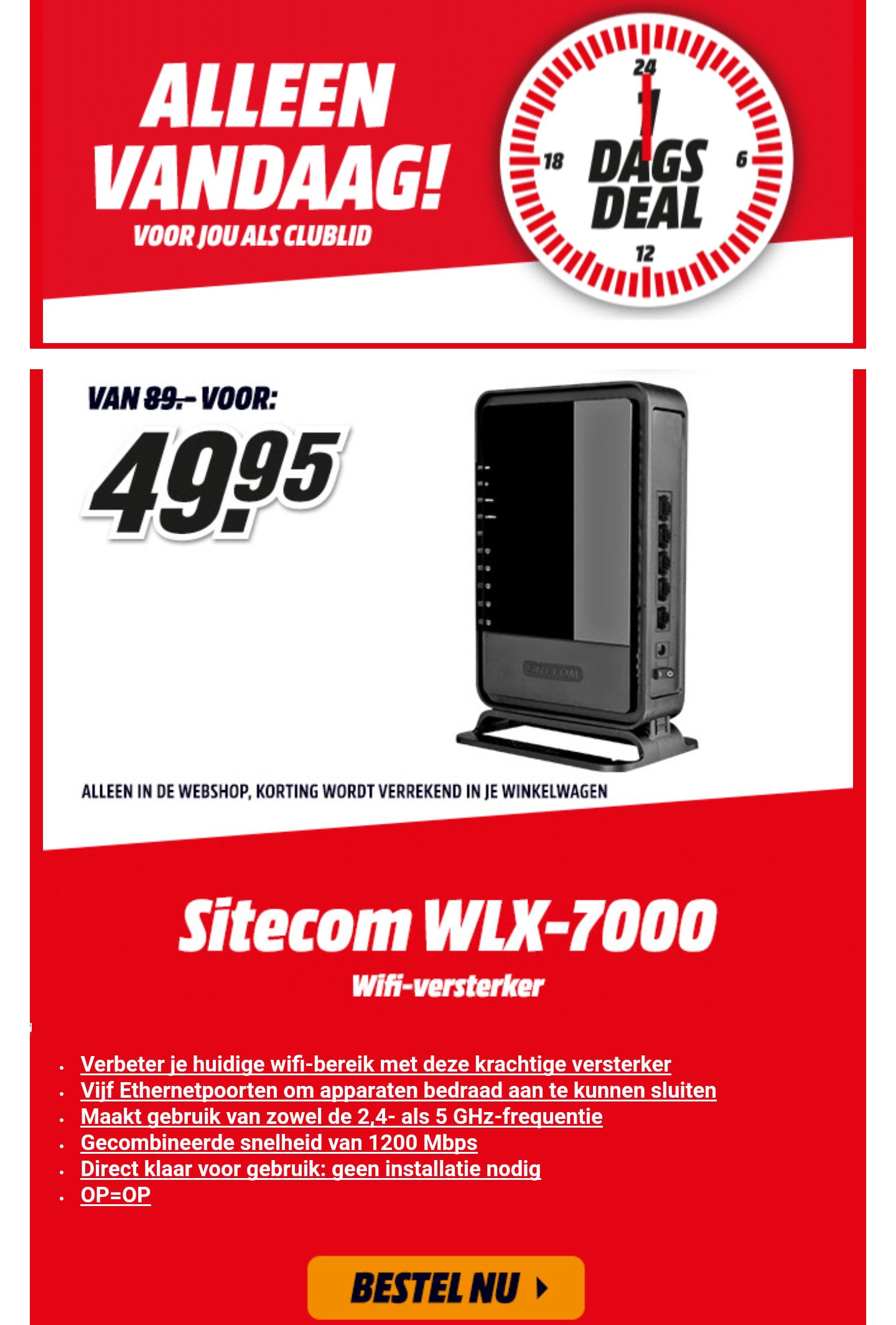 Club 1DagsDeal: Sitecom WiFi versterker voor €49,95 @ Mediamarkt