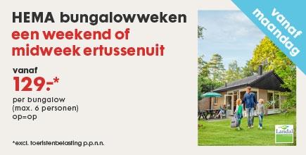 Hema bungalowweken Landal Greenparks (vanaf € 129,-)