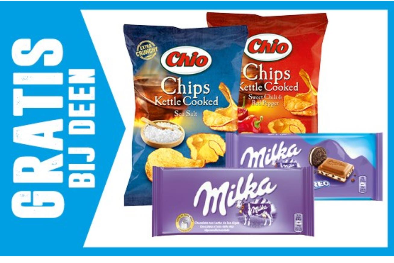 Gratis Chio Chips en Milka Chocolade @ Deen