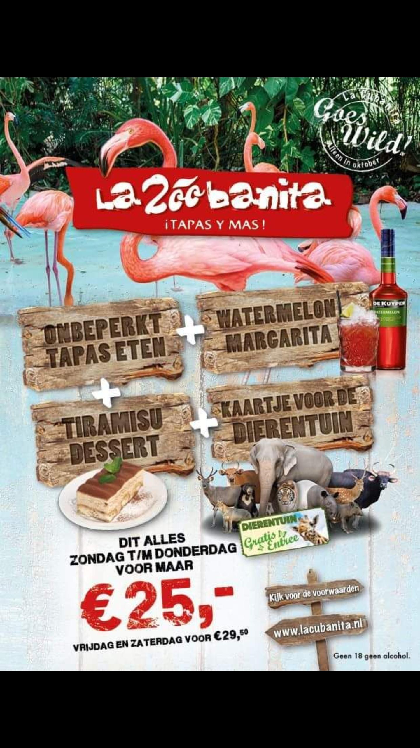 Onbeperkt tapas,watermelon margarita, tiramisu en kaartje voor bepaalde dierentuinnen @La cubanita NU 25,-