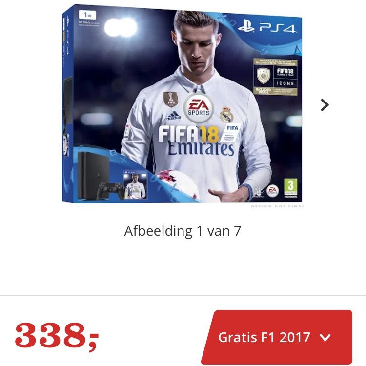 PS4 1tb + Fifa 18 + F1 2017 voor €338 @ Bol.com