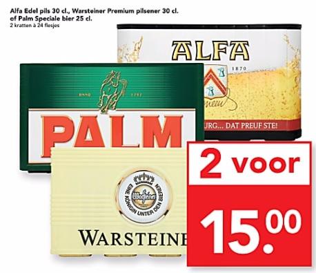Twee kratten bier/pils van Wartsteiner, Palm of Alfa voor € 15 @ Deen