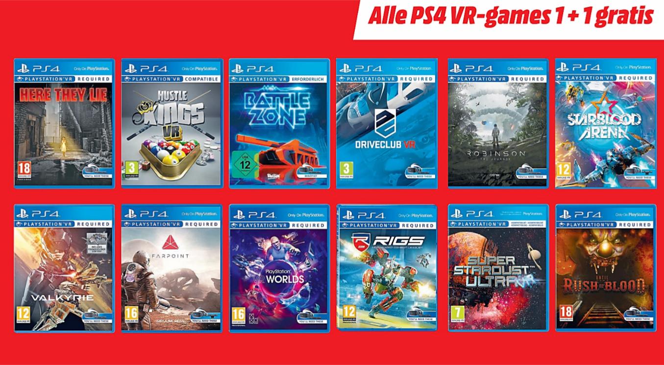 1+1 gratis op alle PS4 VR-games @ Media Markt (vanaf morgen)