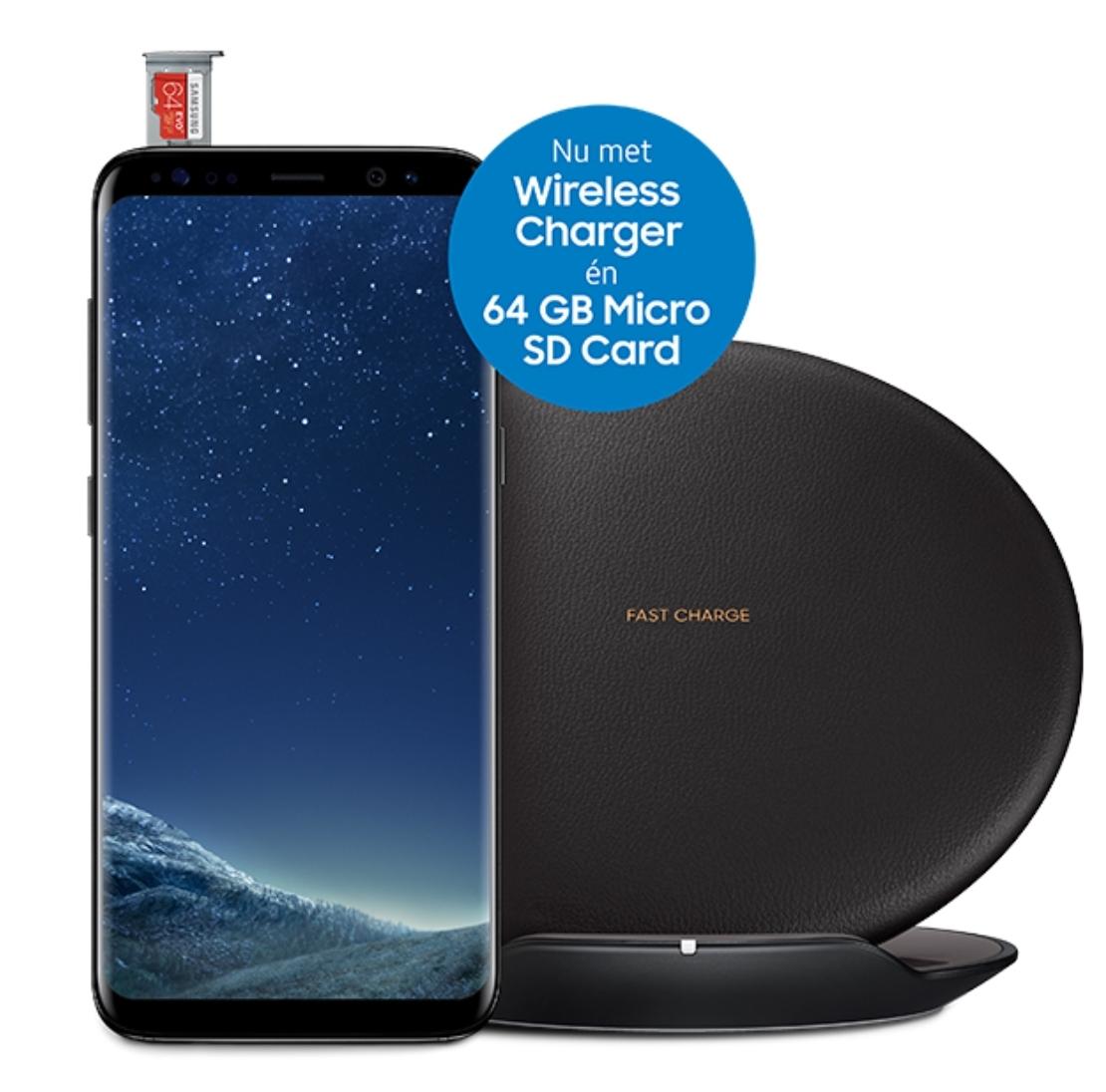 Gratis Wireless Charger en een 64 GB MicroSD Card bij aankoop van Samsung S8/S8+ @ Samsung