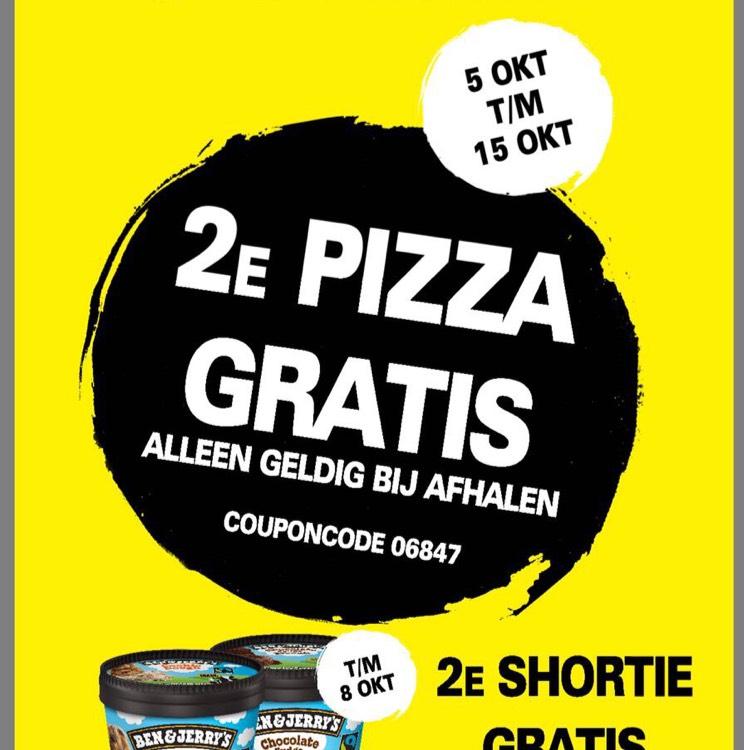 2e pizza gratis bij afhalen. 2e BEN & JERRY'S gratis bij bezorgen en afhalen. Alleen geldig bij Domino's Uden