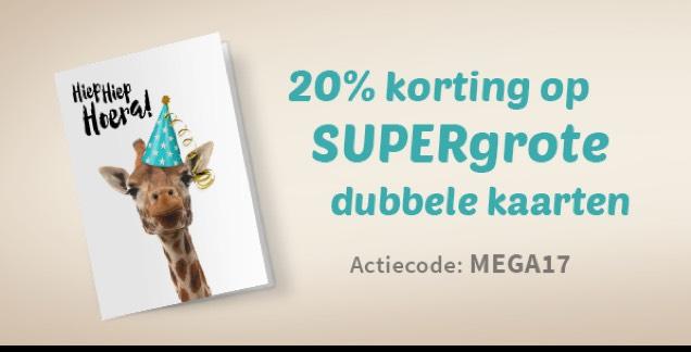 20% korting op de supergrote kaarten bij Kaartje2go