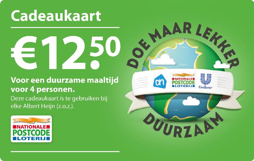 Gratis AH duurzame cadeaukaart twv € 12,50 voor deelnemers Postcode loterij