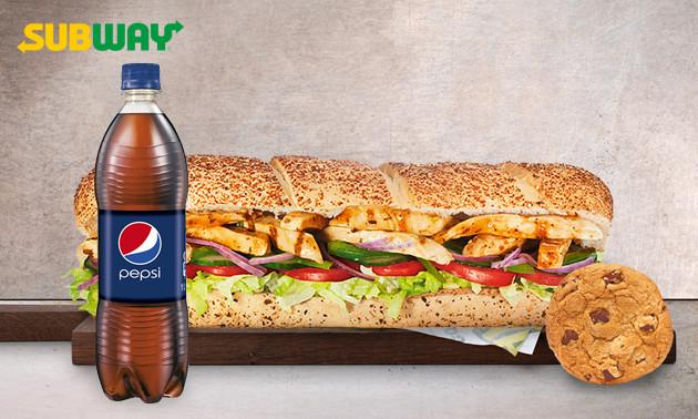Groot menu voor 1 euro! Subway in Hoorn of Purmerend een Premium Sub menu: grote Sub (30 cm) + chips/cookie + frisdrank