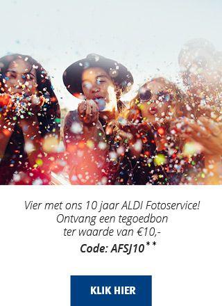 10 euro korting bij Aldi foto. Minimaal bestelbedrag is 25 euro.     Gebruik code: AFSJ10 om de korting te krijgen.