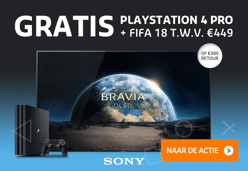 Gratis PS4 PRO + FIFA 18 óf €300 retour bij aanschaf Sony OLED TV