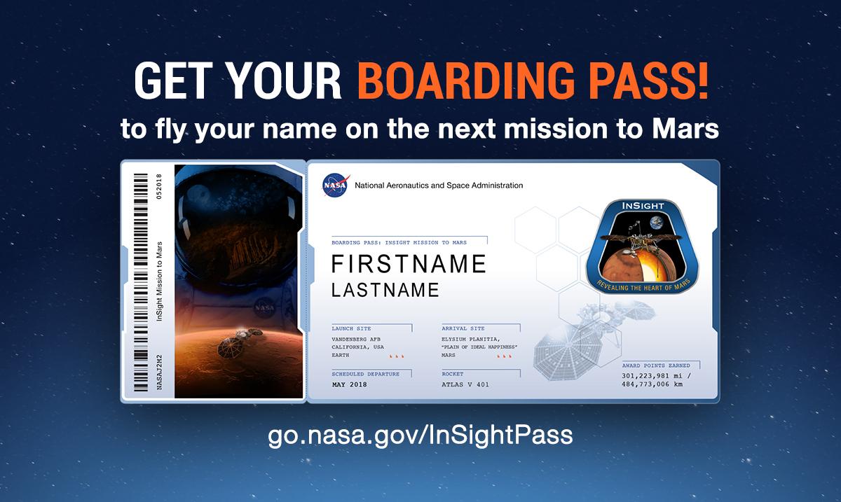 Stuur je naam mee naar Mars :)