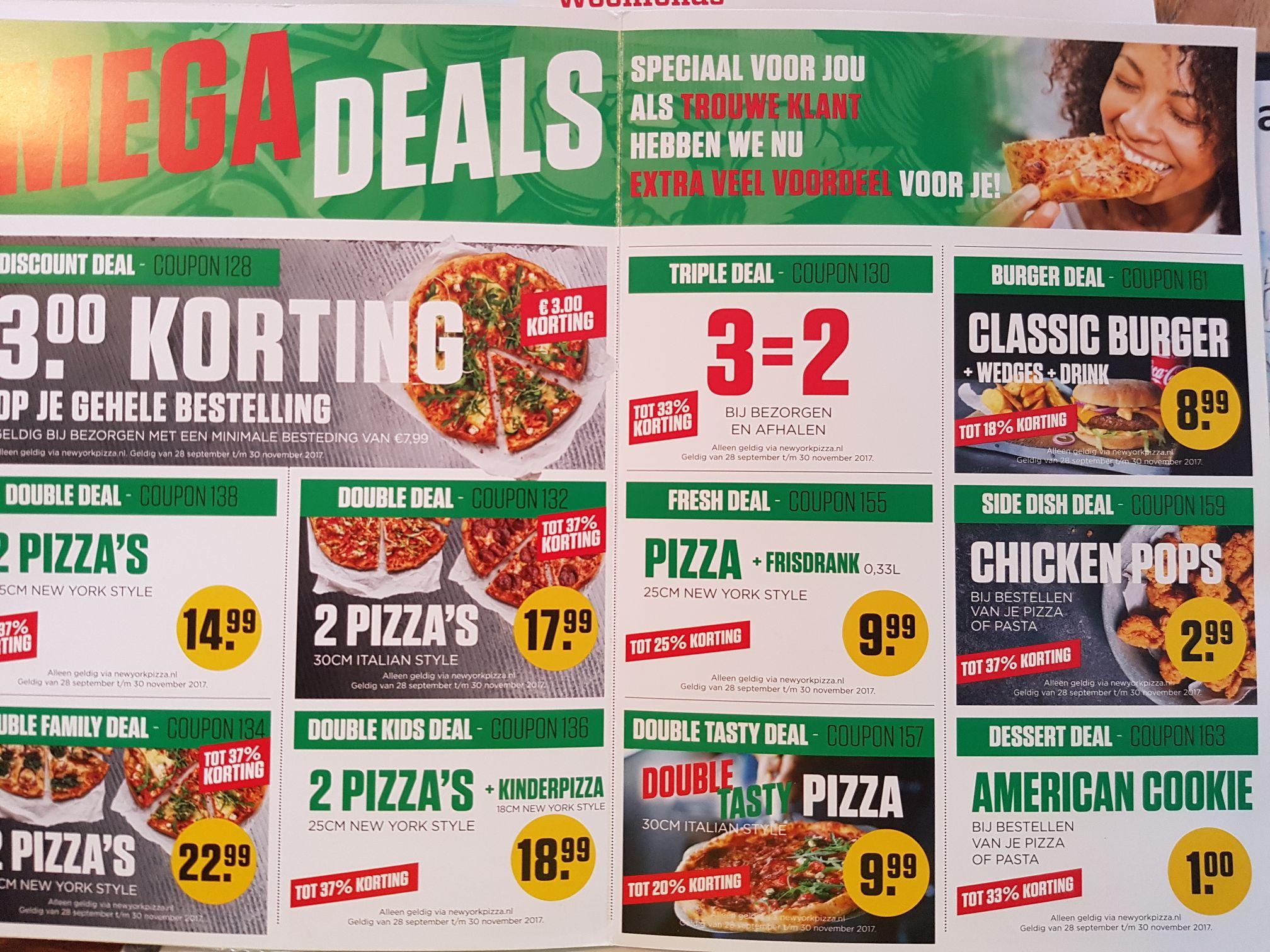 Verschillende kortingscodes @ New York Pizza