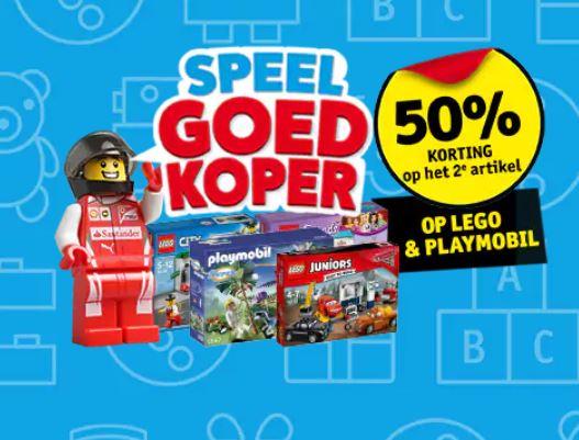 Speelgoedkoper: 50% korting op 2e Lego / Playmobil artikel @ Kruidvat