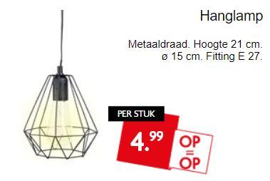 Hanglamp van metaaldraad €4,99 @ Dirk / Dekamarkt