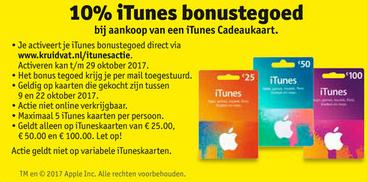 10% iTunes bonustegoed @ Kruidvat
