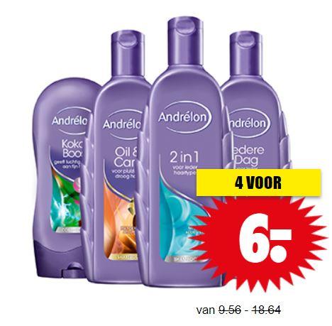 Andrélon shampoo + conditioner - alle variaten 4 voor €6 @ Dirk