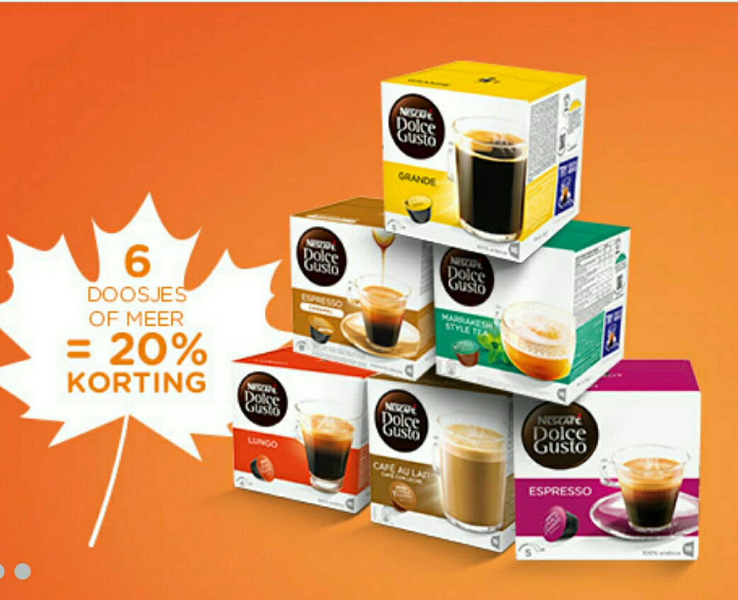 20% korting vanaf 6 doosjes + gratis verzending @ dolcegusto.nl