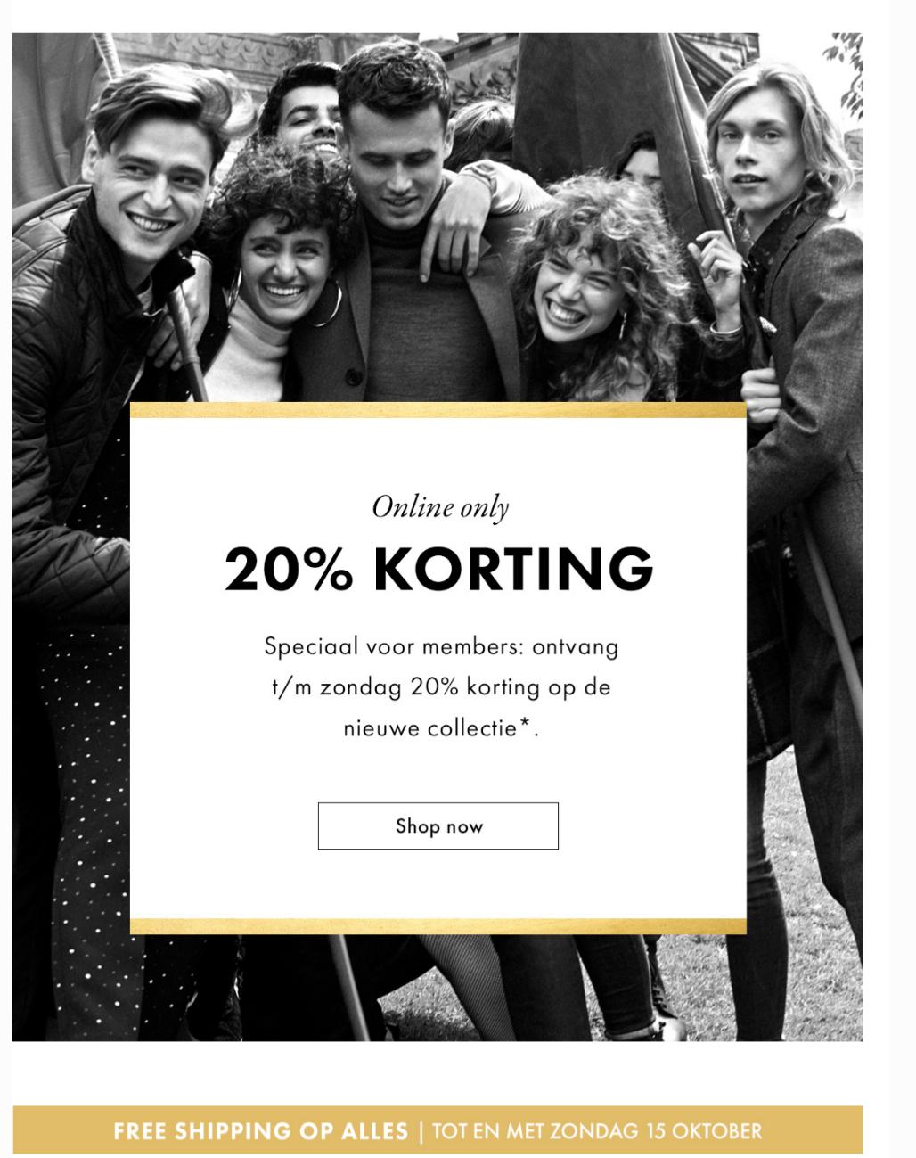 20% korting op de gehele nieuwe collectie voor WE-members, @ WE fashion