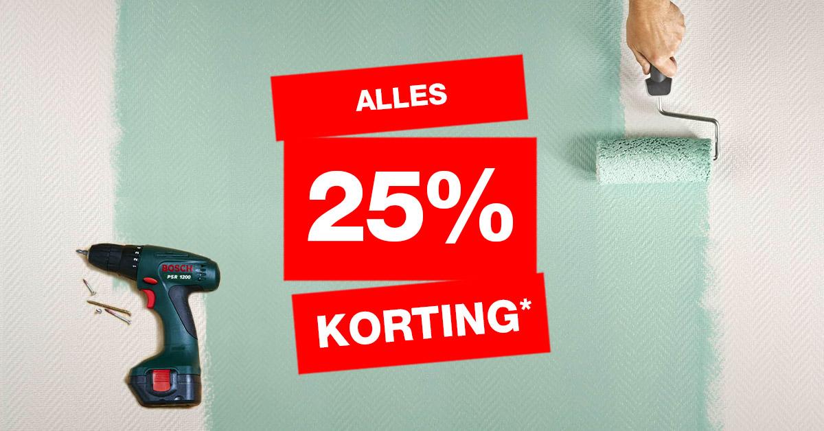 Praxis 25% korting op alles , nu al online, morgen (zaterdag) in de winkels