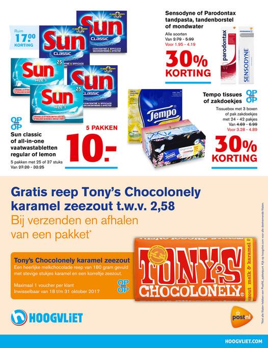 Gratis reep Tony's Chocolonely Karamel zeezout bij verzenden en afhalen van een pakket @ Hoogvliet