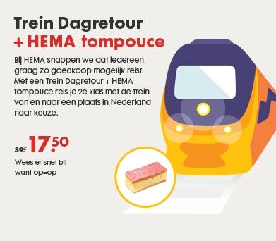 NS dagretour met tompouce voor €17,50 @ Hema