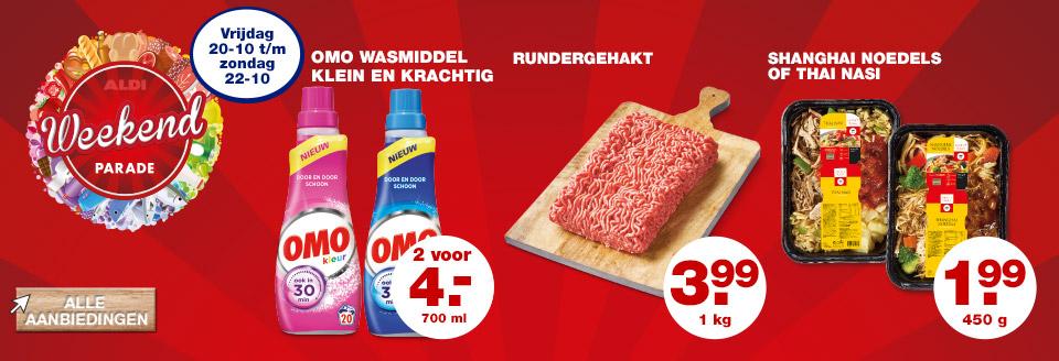 Superaanbieding Omo Wasmiddel klein en krachting 2 voor maar 4 euro bij ALDI
