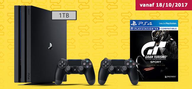 Inruilactie: PS4 PRO + GT Sport + 2 DualShock Controllers vanaf €269 @ Gamemania