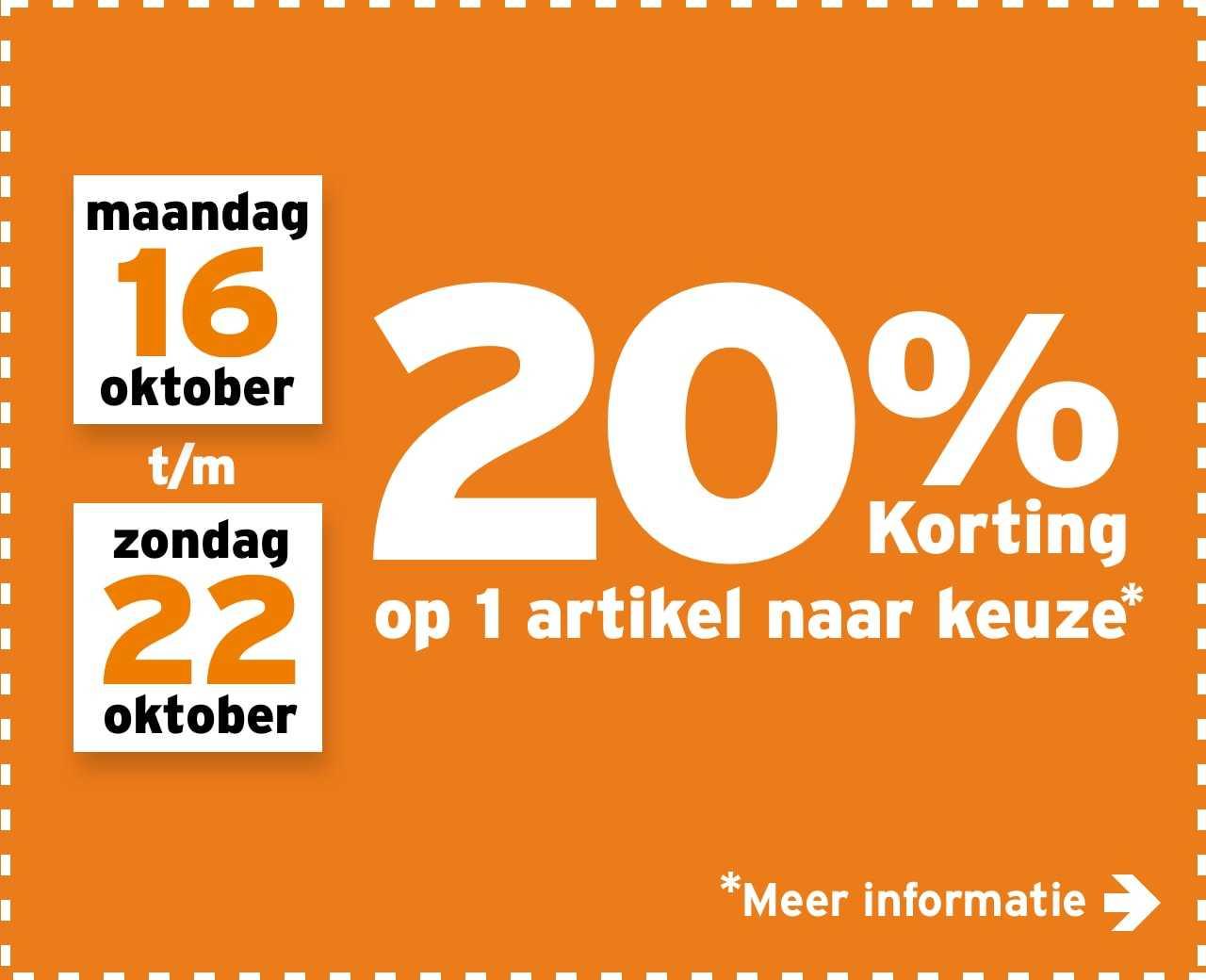 20% korting op 1 artikel naar keuze @gamma.nl