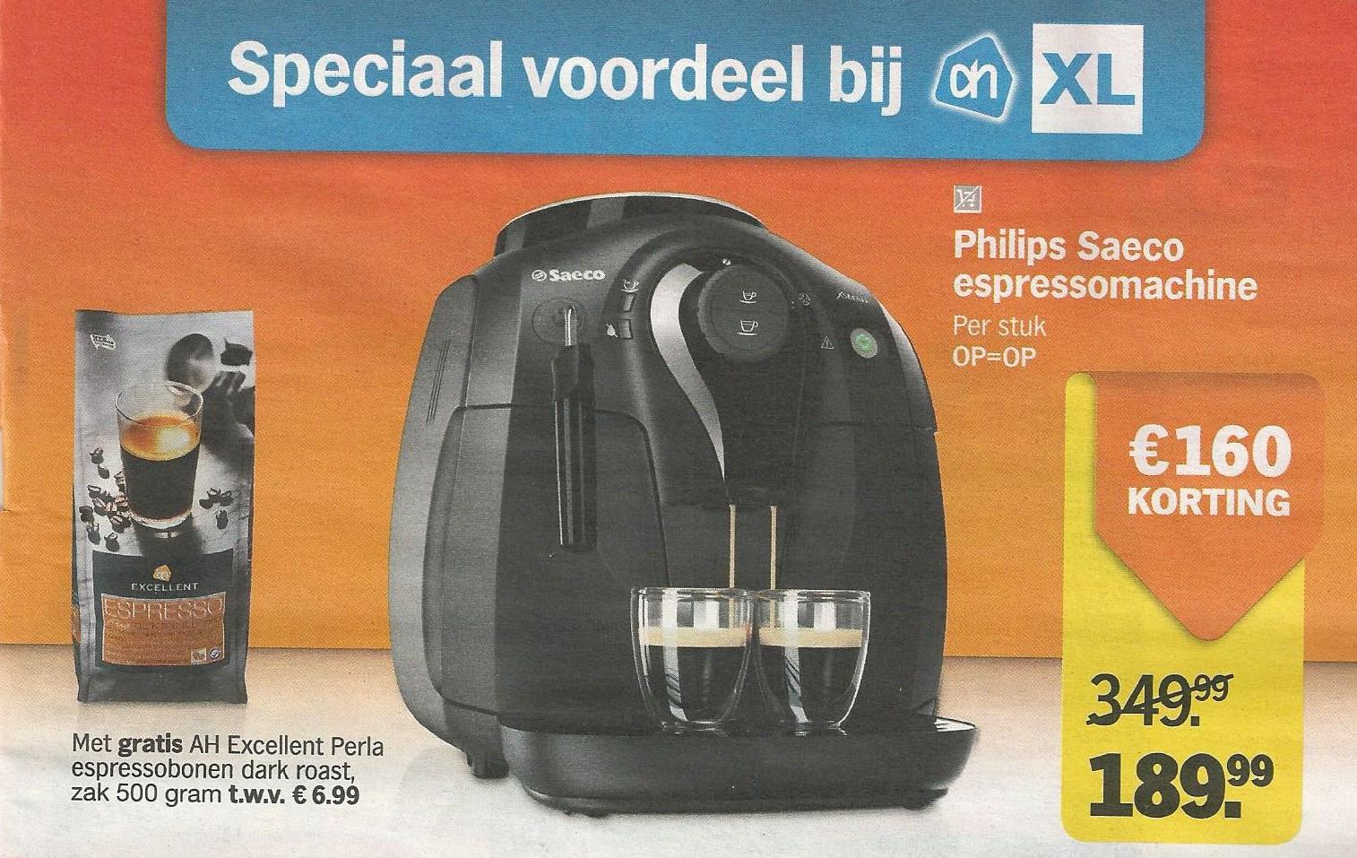 Philips Saeco Xsmall HD8743/11 + gratis AH Excellent Perla espresso dark roast bonen voor €189,99 @ AH