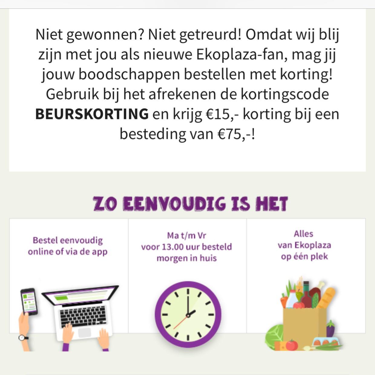 €15 korting bij online bestelling (boven €75) EkoPlaza