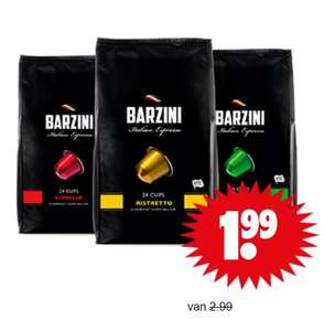 Barzini koffie cups (voor Nespresso) 24 stuks €1,99 @ Dirk / Dekamarkt
