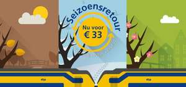Seizoensretour: 3x 1 dag reizen in het weekend voor €33!