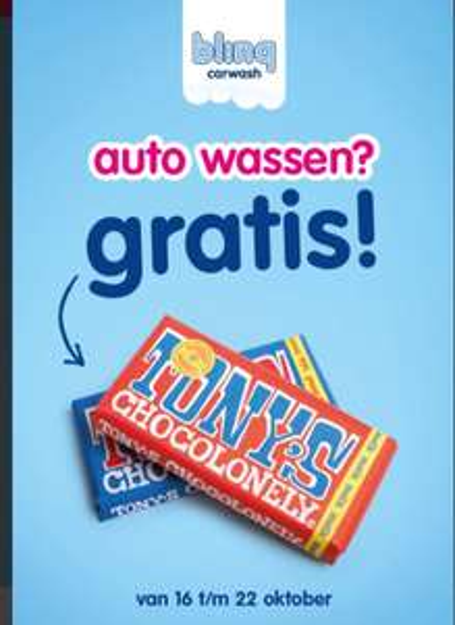 Auto wassen? Gratis Tony's Chocolonely! Bij blinq carwash in Apeldoorn