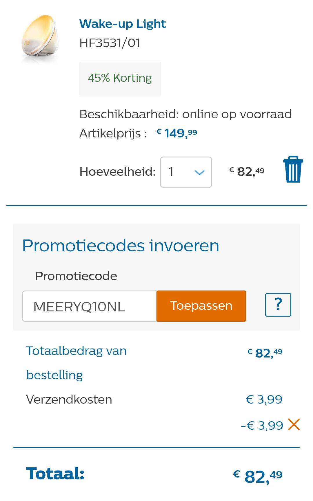 Philips Wake-up Light HF3531/01 nu met 45% korting voor €82,49