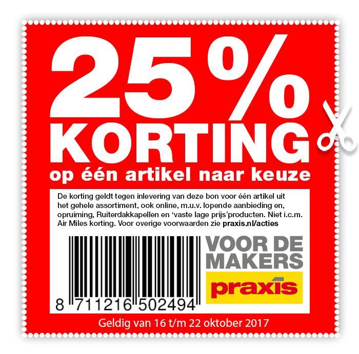 25% kortingbon op één artikel naar keuze @ Praxis
