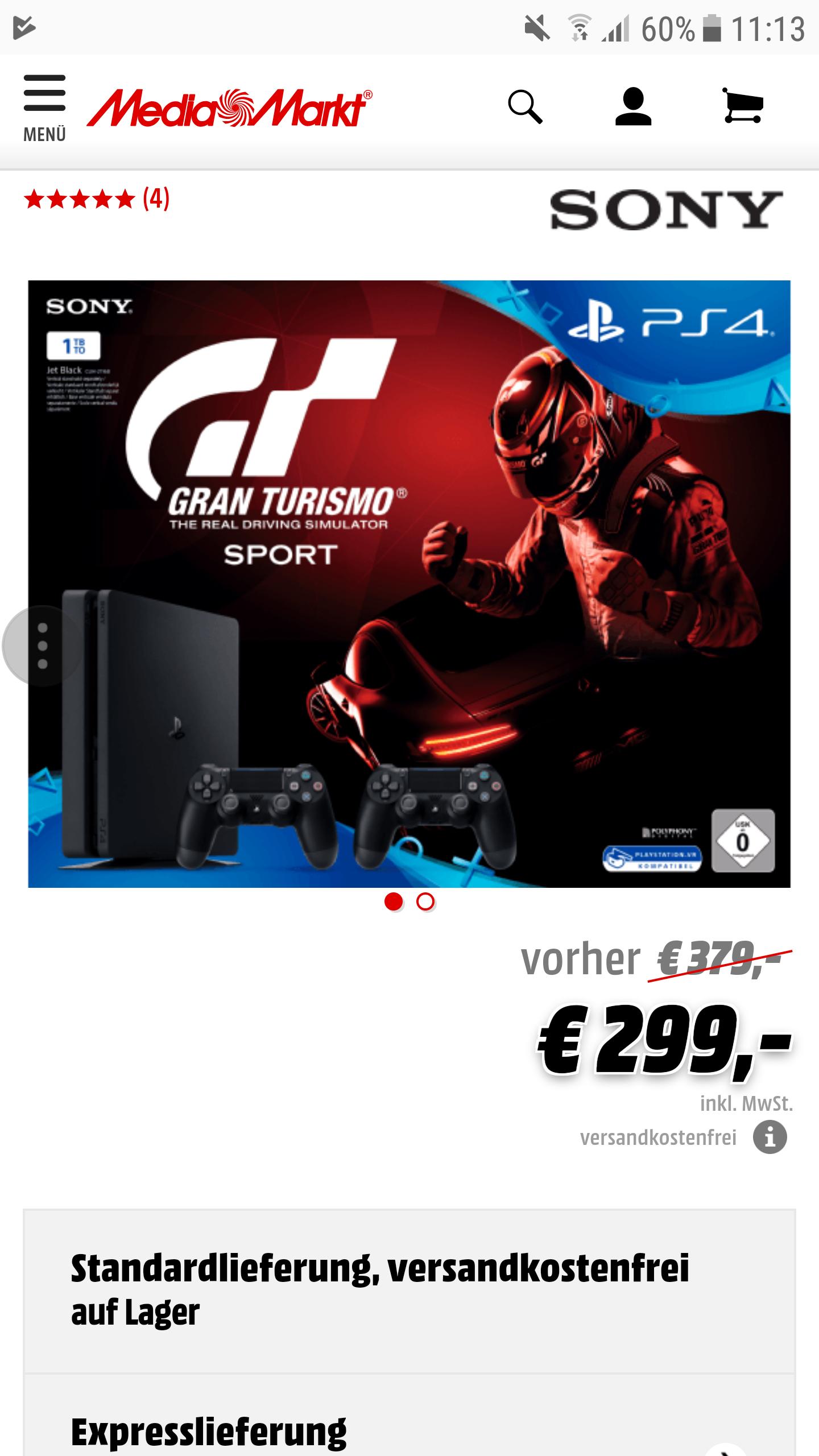 [Grensdeal] Ps4 1TB 2×controller + GT voor €299 @ Mediamarkt.de