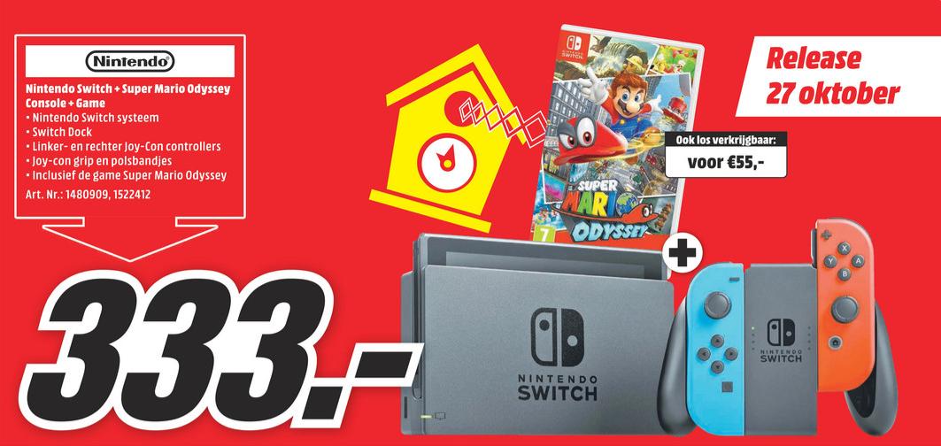 Nintendo Switch + Mario Odeyssey voor €333 @ Media Markt (volgende week)