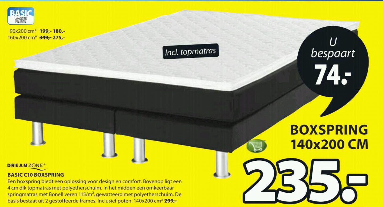 Dreamzone Boxspring 140x200 cm inclusief matras voor €235,- @ Jysk
