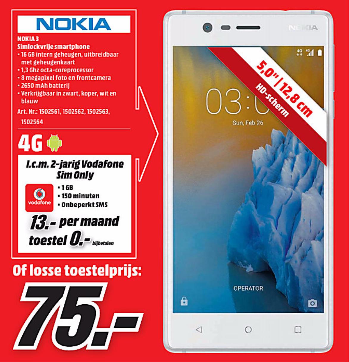 Nokia 3 Smartphone Voor 75 At Media Markt Vanaf Maandag Peppercom